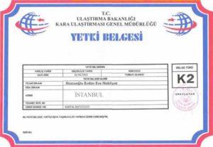 İstanbul Kozcuoğlu Evden Eve Nakliyat K2 Belgesi