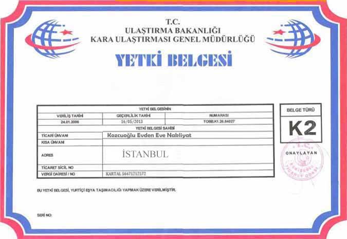 istanbul-kozcuoglu-evden-eve-nakliyat-k2-belgesi